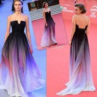 Vestido De Festa Elie Saab 2014 Long Gradient Color Chiffon Evening Dresses Prom Party Dress