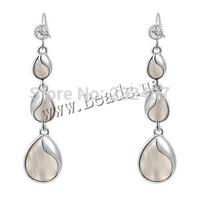 Jewelry Cats Eye Earrings Zinc Alloy with Cats Eye brass earring hook Teardrop with rhinestone 14x61mm, 10Pairs/Lot, Sold By Lot