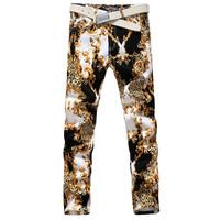 2014 New Men's pants Fashion skinny Stretch 3d printed Brand famous Men Jeans,Hot Sale Straight Regular Pants,Plus size 30-36