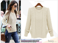 new 2015 Spring and winter casual women's solid primer shirt o- neck long-sleeved knitted sweater wholesale Slim sweater dress