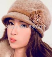 Bu Ta    Female autumn and winter hat    Flowers wool woolen hat    PTA148