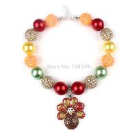 5pcs/lot Large Rhinestone Turkey Pendant Inspired Kids Thanksgiving Necklace Chunky Bubble Gumball Necklace Girls Jewelry
