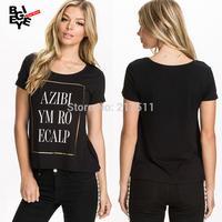 New 2015 Summer Fashion Gilt Bronzing Letters Print Girl Tops Black Plus Size Short Sleeve T-shirts For Women J14120213