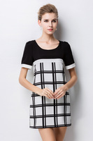 2015 new fashion women silm black white plaid short sleeve round neck casual dress work dress women clothing plus size L-4XL