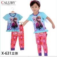 pajama clothes set fashion summer olaf cartoon solid cotton kids baby boys girls children pajamas clothing sets X-631