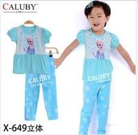 pajama clothes set fashion summer olaf cartoon solid cotton kids baby boys girls children pajamas clothing sets X-649