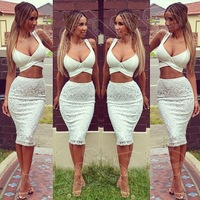 Sexy Nightclub Dress New Trendy High Quality Women Lace V Neck Backless Two Piece Evening Party Dinner Dress