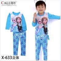 X-633 pajamas clothes sets fashion cartoon elsa anna olaf kids baby girls children pajamas clothing sets spring autumn clothes