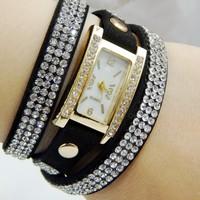 Fashion Latest Popular Hawaiian Style Sparkling Rhinestone Long Leather Sling Chain Bracelet Quartz Watches Women