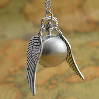 hot antique silver wing golden gold snitch ball quartz pocket watch necklace women arabic number hour hot fashion lady girl