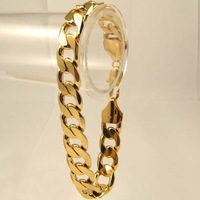"""18K yellow Gold Filled Women's Bracelets Solid Curb Chain link 9"""" GF Fashion Jewelry Wide 8MM ,Free Shipping"""