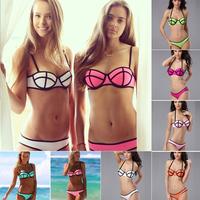 2014 new summer Bra sexy split t Triangl  swimwear bikini hot  bathing Multicolor gather vintage bathing beach neoprene