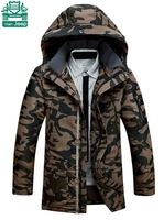 NianJeep Thickness Real Men's Down Coats,Brand Man's camouflage Long Jackets,Outdoor Casual Real Man's Parkas Outwear
