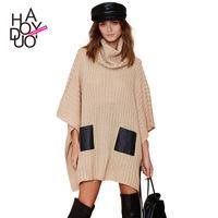 2015 Spring New Khaki Bat Sleeve Black Pocket Loose Piles Collar Knitted Sweater Women Fashion Loose Sweater Dropshipping