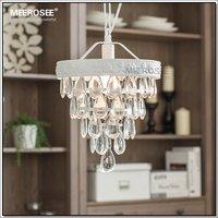 Vintage Mini Glass Chandelier Light Fixture Cottage White Suspension Lamp hanging Light for Dining Room, Porch Aisle