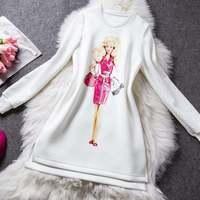 Free ship Fashion 2014 O-neck long sleeve print gril white winter brand  party work dress wholesale va1612