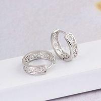 Hollow design 3pairs/lot 18K white Gold Filled Women's Hoop Earrings GF Jewelry