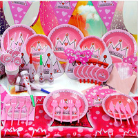 2014 new 72pcs Kids Birthday Party Decoration Set Pink Princess Crown Theme Party Supplies Birthday Pack cupcake stand
