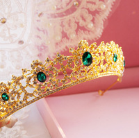 Fashion bride crown of the bride marriage accessories formal dress accessories gold green Rhinestone