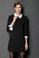 2015 new spring antumn women Dresses loose three quarter -sleeved orange Black casual dress fashion work dress plus size L-4XL