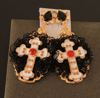 Retro temperament long section cross Baroque palace style catwalk models large earrings