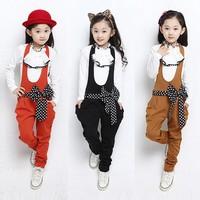 DHL EMS Free Shipping Older Chidren Kids girls 2pc Suit Chiffon T Shirt Suspender Pants 10 Pcs/lot 4 Colors Children 120-160