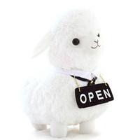 "free shipping  45cm white sheep , ""open"" Alpaca plush toy,decoration gift p3084"