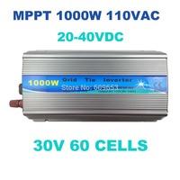 1000W Grid Tie Inverter MPPT function,Pure Sine wave 110Vac output,30V 60cells input,Micro on grid tie inverter 20-40VDC MPPT