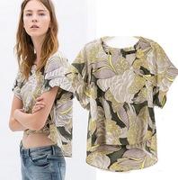 2015 Women Print Shirt T-shirts  O-Neck Pullover European Style  Spring Summer Short Sleeve Cute Loose Tops Blouse Casal CL2104