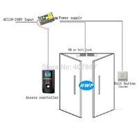 Fingerprint access control+bolt lock kit with TCP/IC connect PC Double glass doors fingerprint set kit