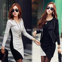 Fashion Womens Casual Slim Black & Gray Stitching Irregular Hem Long Sleeve Bottoming Mini Dress