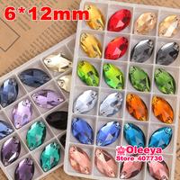 100pcs 6x12mm Navette shape Flatback Sew on Rhinestones Mix Color 2 holes Horse Eye Sewing Crystal beads Oleeya Brand