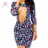 2015 Spring New Women Sexy Vestidos Three Quarter Sleeve Confetti Print Club Dress Ultral Sexy Hot Girl Night Dress