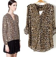 2015 New Version European Style Women Leopard Shirt Three Quarter SLeeve Spring Autumn T-shirts Famous Brand Tops  Blouse CL2107
