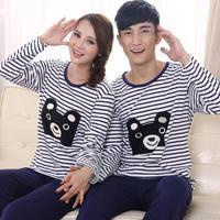 winter long sleeve pajama sets for women and men striped cartoon bear full cotton sleepwear couple tracksuit