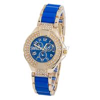 Relogio Feminino Women Rhinestone Wristwaches Blue Gold White Ladies Dress Quartz Watch Wristwatch Clock Hours Reloj Mujer-GV016
