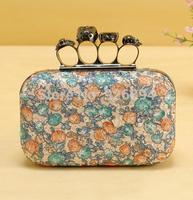 New personalized diamond skull ring punk party wallet purse bag clutch evening bag  handbag ladies fashion chain shoulder bag