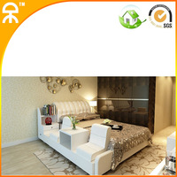 (1 bed +2 night stand +1 matrress /1lot 1.5 m 1.8 m modern white top grain leather bed with seat  #CE-096