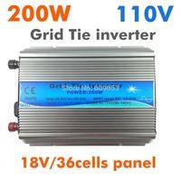 200W Grid Tie Inverter MPPT function,Pure Sine wave 110Vac output,18V 36cells input,Micro on grid tie inverter 10.8-28VDC MPPT