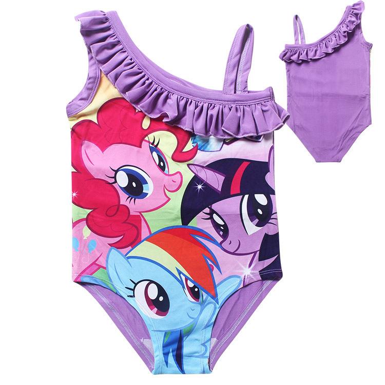 One Piece Escena Del Baño:pony traje de baño para las muchachas del bebé de una sola pieza del