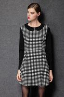 2015 Plus size Women Dress Autumn plaid peter pan collar long sleeve new fashion casual dresses work dress women clothing XL-4XL