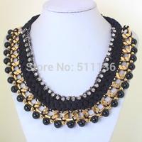 2015 New Design Big Fashion Choker Jewelry Rhinestones Ribbon Cross Chunky gold Chain Necklace For Women Dress KK-SC762 Retail