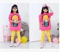 2014 child long design with a hood pocket print long-sleeve thickening fleece sweatshirt