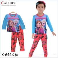X-644 pajamas clothes sets fashion cartoon elsa anna olaf kids baby girls children pajamas clothing sets spring autumn clothes