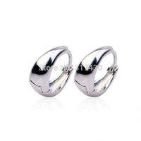 Wholesale 3pairs/lot women's earrings 18K white Gold Filled  Hoop Earrings ,Moon smooth fashion modeling GF Jewelry