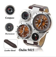 Top Brand Oulm Multi-Function Watch for Men with White or Black or Brown Round Dual Movt  Leather Multiple Time Zone watch