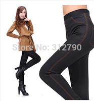 Freeshipping Autumn and winter velvet thickening legging faux denim trousers pencil pants women leggings trousers gift