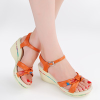 First layer of cowhide platform wedges sandals platform genuine leather women's shoes plus size 1853