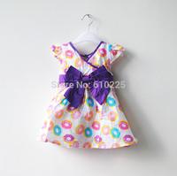 New 2014 Children Summer Wear V-neck Girls' Dresses Bow Baby Girls Dresses Brief Floral Summer Dress Summer Dress For Kids