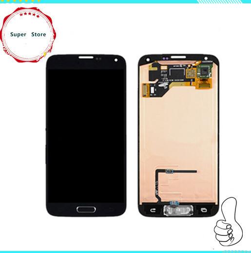 Pour samsung galaxy s5 i9600 g900a verre écran lcd tactile écran numériseur + home button flex